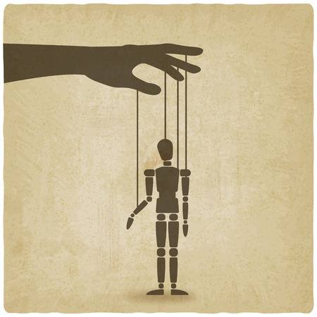 hand met puppet oude achtergrond - vector afbeelding. eps 10 Stock Illustratie