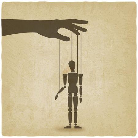 marioneta de madera: la mano con la marioneta viejo fondo - ilustración vectorial. eps 10
