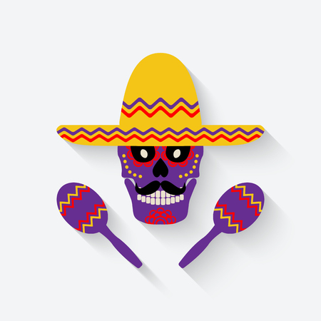 festival: concept for Day of the dead. sugar skull in sombrero with maracas - vector illustration. eps 10