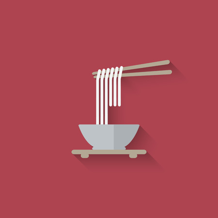 Chinese noodles with chopsticks. vector illustration  Иллюстрация