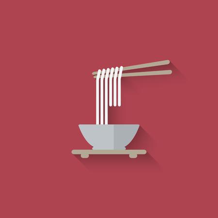 Chinese noodles with chopsticks. vector illustration  Çizim