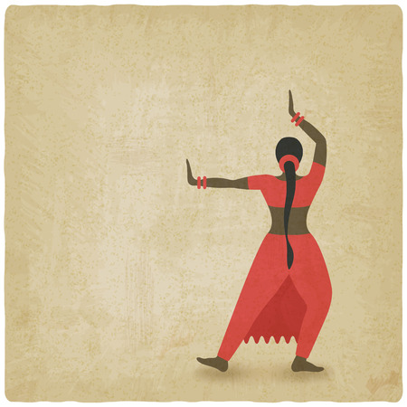 classical: Indian dancer old background. dance club symbol. vector illustration
