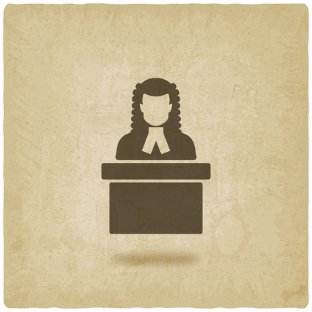 court judge: judge in wig old background. vector illustration
