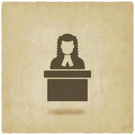wig: judge in wig old background. vector illustration