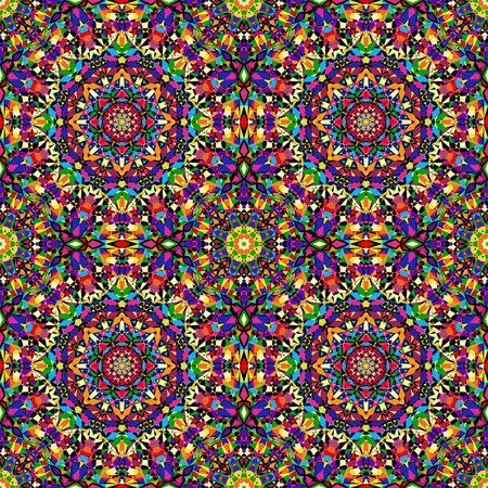 background kaleidoscope: bright geometric seamless kaleidoscope pattern. vector illustration Illustration