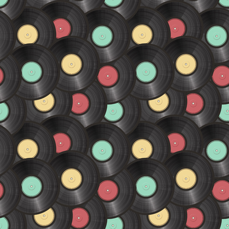 on records: vinyl records seamless background. vector illustration