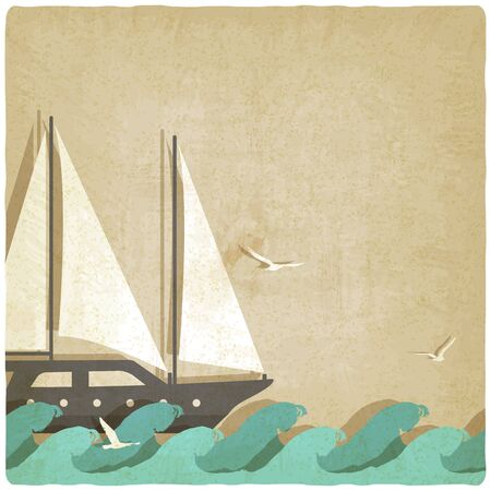 sailboat: yacht on waves old background. vector illustration  Illustration