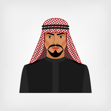 arab adult: Arab man in traditional clothes. vector illustration