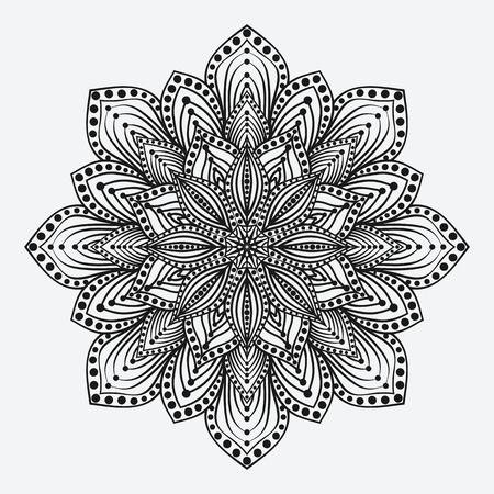 만다라. 양식에 일치시키는 꽃 원형 단색 패턴. 벡터 일러스트 레이 션 일러스트