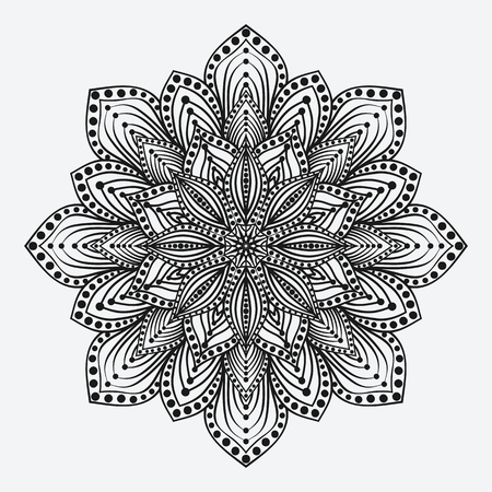 mandala. stylized floral circular monochrome pattern. vector illustration