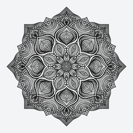 mandala. circular monochrome pattern. vector illustration Çizim
