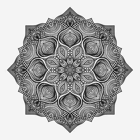 dessin noir et blanc: mandala. motif monochrome circulaire. illustration vectorielle