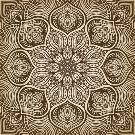 만다라. 갈색 원형 패턴 배경입니다. 벡터 일러스트 레이 션