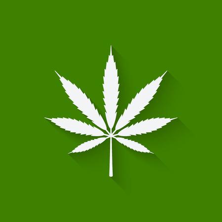 marihuana: hoja de marihuana en el fondo verde. ilustraci�n vectorial