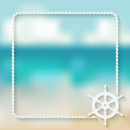 steering wheel: steering wheel marine background. vector illustration