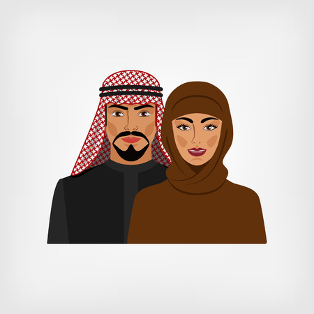 arabic: Arab man and woman in traditional clothes. vector illustration