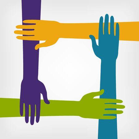 diversidad: concepto de trabajo en equipo con las manos. ilustración vectorial