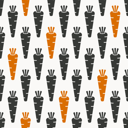 root vegetables: carrots seamless pattern in black and orange coloursvector illustration   Illustration