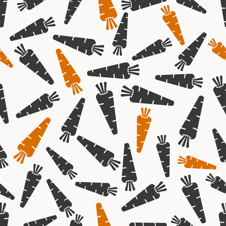 root vegetables: carrots seamless pattern in black and orange coloursvector illustration