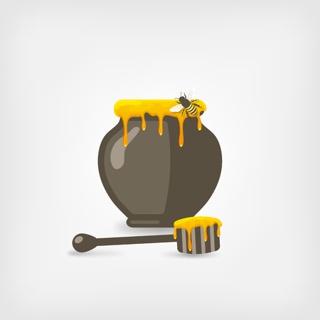 dipper: honey pot with bee and wooden dipper. vector illustration