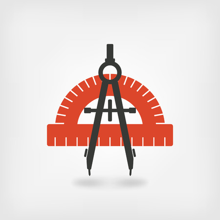 protractor: compass and protractor symbol. vector illustration   Illustration