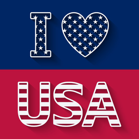 bandera blanca: Me encanta EE.UU. ilustraci�n. ilustraci�n vectorial