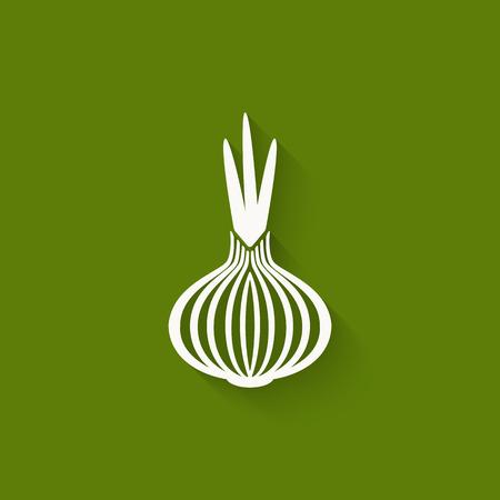 cebolla: cebolla icono de fondo verde. ilustración vectorial