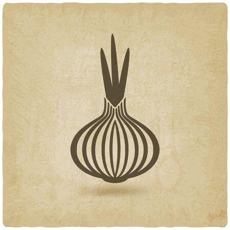 cebolla: cebolla fondo antiguo. ilustración vectorial Vectores