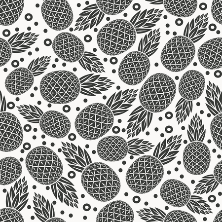 fruit background: pineapple tropical fruit monochrome seamless pattern - vector illustration.