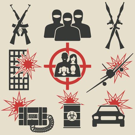 kalashnikov: Terrorism icons set. vector illustration