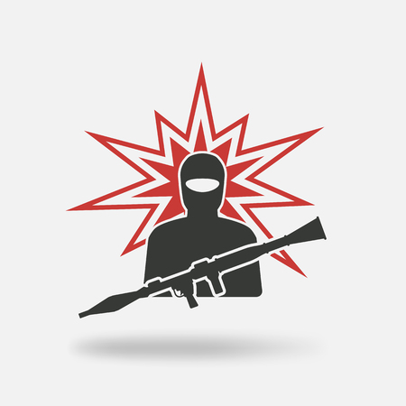 launcher: terrorist with grenade launcher. vector illustration - eps 10