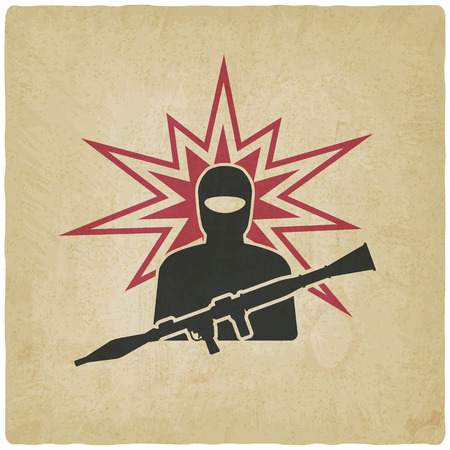 launcher: terrorist with grenade launcher. vector illustration