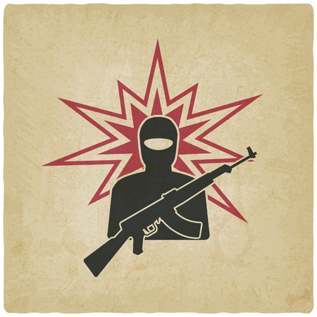 terrorist with gun old background. vector illustration
