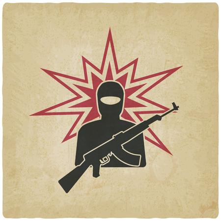 terrorist: terrorist with gun old background. vector illustration