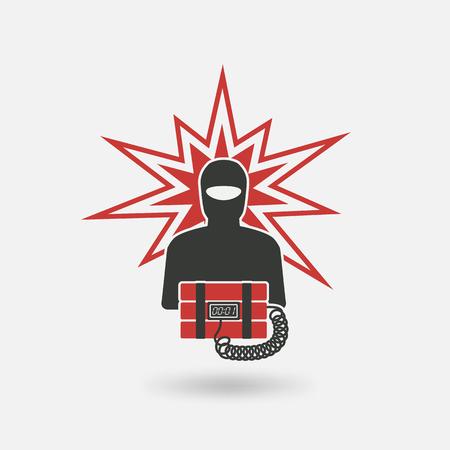 terrorist with bomb. vector illustration