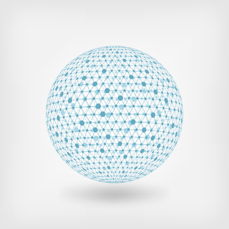 blue sphere: blue sphere network. vector illustration