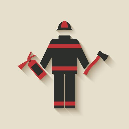 fireman: Fireman with extinguisher and axe.