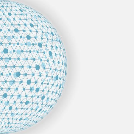blue sphere: blue sphere networkwhite background. Illustration