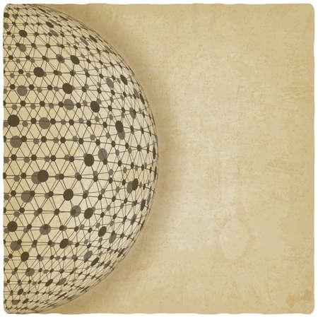 world globe: sphere network old background.