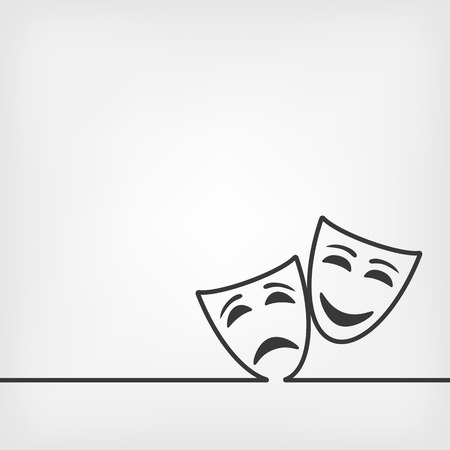 comedy: comedy and tragedy masks white background.  Illustration