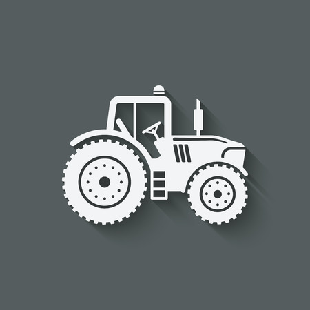 tractor in field: tractor silhouette icon.  Illustration