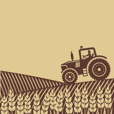 granjero: tractor en el campo. Vectores