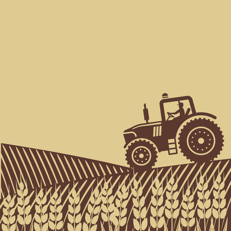 farmer: tractor in field.