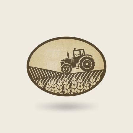 grain fields: oval label with the landscape. tractor in field.  Illustration