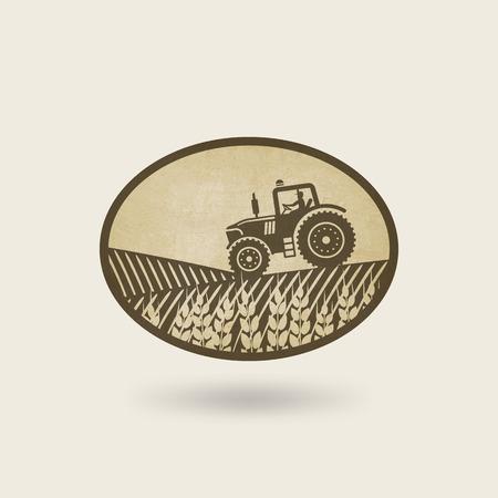 ovale label met het landschap. tractor in het veld.