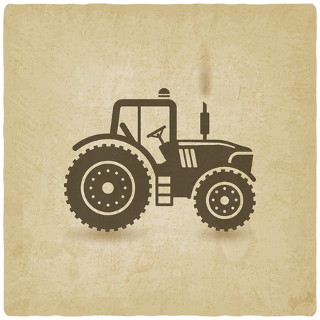 tractor silhouette old background.  Çizim