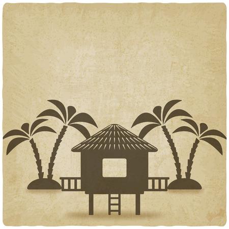 bungalow con palmeras de fondo de edad. ilustración vectorial - EPS 10