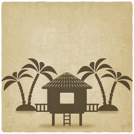 a house with a straw: bungalow with palm trees old background. vector illustration - eps 10 Illustration