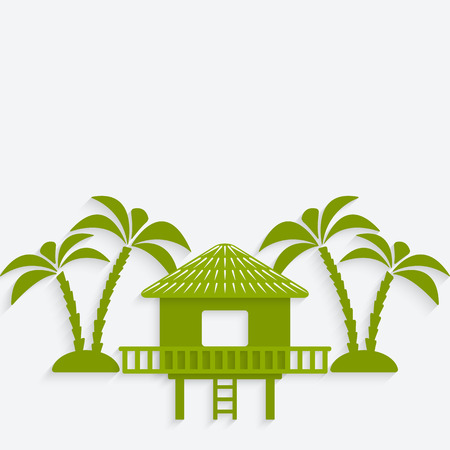 caribbean beach: bungalow with palm trees. vector illustration - eps 10