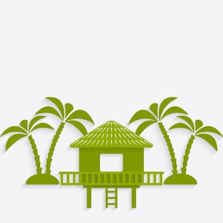 bungalow with palm trees. vector illustration - eps 10 Vektoros illusztráció